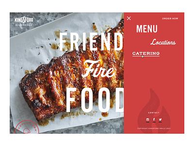 Draw Menu main nav. menu page landing page kingsford grill restaurant red website branding ui menu draw