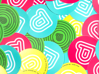 Master P magnet mark icon sticker pack sticker set stickermule magenta green yellow outline p logo stickers