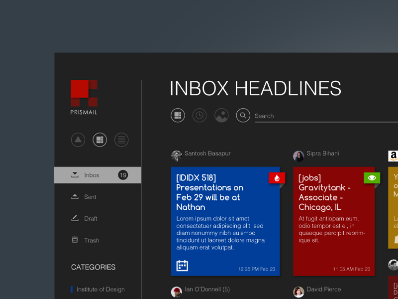 Email client visualization study (Headlines) design research minimal layout desktop user ui interface email app