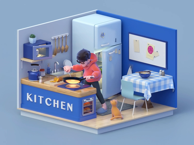Cooking at home illustration cook app construction food render kitchen low poly room decoration design cooking c4d cat characters character design cinema4d character dribbble design animation