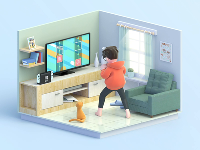 Morning exercises at home window book cabinet stool light cinema4d animal crossing home low poly fitness living room nintendo switch characters c4d cat design animation
