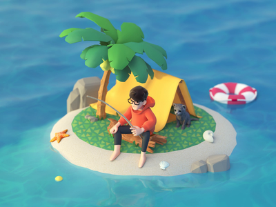 Island fishing conch water animal shell tree sea character liftbelt fishing island animal crossing low poly characters illustration cinema4d cat animation