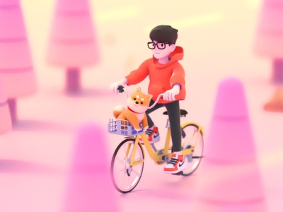 Bicycling in the dream speed forest characters logo motion graphics 3d branding bike gif pink tree ui design illustration c4d low poly cinema4d animation