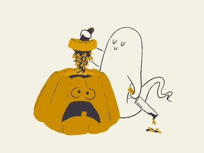 26 Gory guts gore carving pumpkin gory minimal vintage retro character design aughost aughostus gloom ghost illustration design character procreate women in illustration midcentury