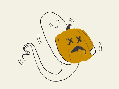 27 Jaunty pumpkin happy jaunty minimal vintage retro character design aughost aughostus gloom ghost illustration design character procreate women in illustration midcentury