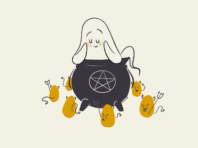 30 Egg ritual cute cauldron deviled egg egg minimal vintage retro character design aughost aughostus gloom ghost illustration design character procreate women in illustration midcentury
