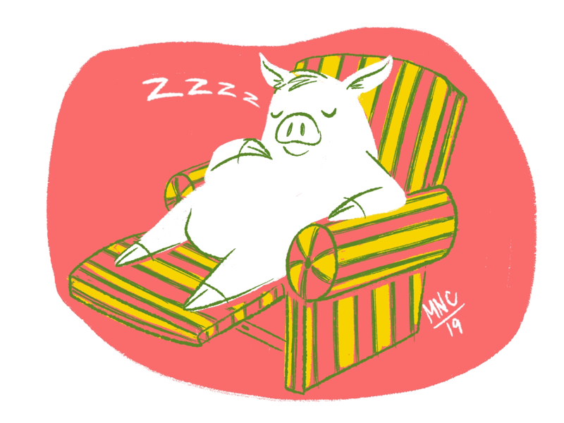 Revisited Stay Home Pig nap sleep piggy mid century vintage retro design illustration character