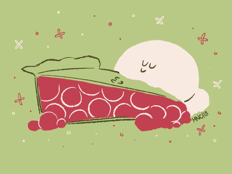 Me-oh-my, Pie pie food design mid century illustration