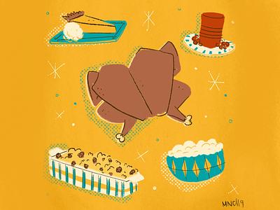 Happy Thanksgiving design illustration mid century vintage retro mashed potatoes stuffing cranberry pumpkin pie turkey turkey day thanksgiving