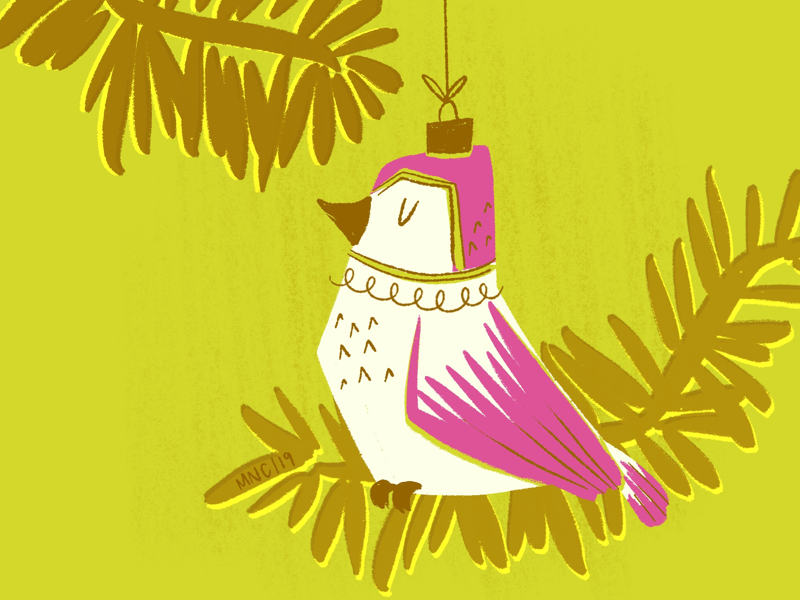 Mele kalikimaka tropical bird mid century retro vintage design ornament christmas