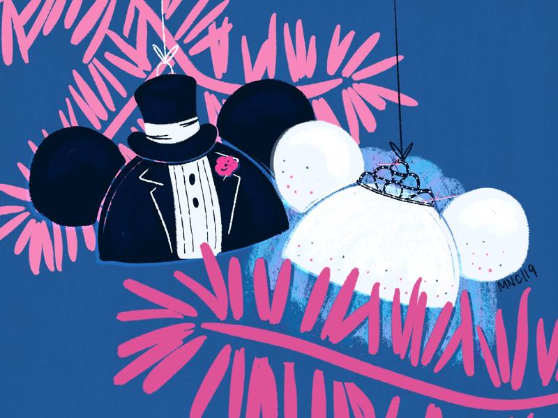Happy Anniversary Ornaments women in illustration procreate anniversary wedding disney illustration mid century groom bride mouse ears minnie mickey retro design vintage ornament christmas