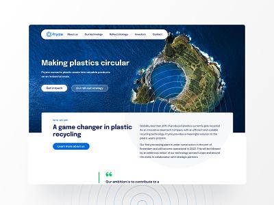 Pryme Cleantech recycling technology clean cleantech ripple blue branding ui ux web website design