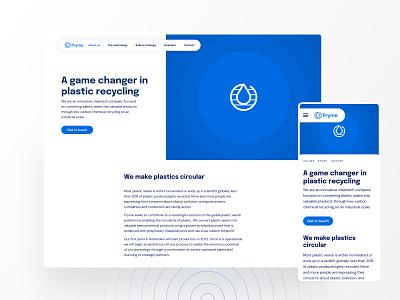 Pryme Cleantech cleantech technology clean white ripple blue recycling ui ux web website design