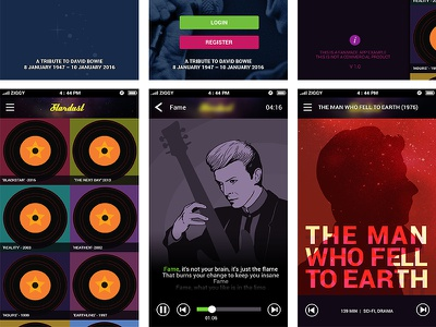 A Tribute to David Bowie App Design #2 design interface app photoshop illustrator