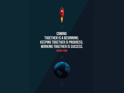 Poster Success  rocket stars space globe earth simple flat vector ford success poster