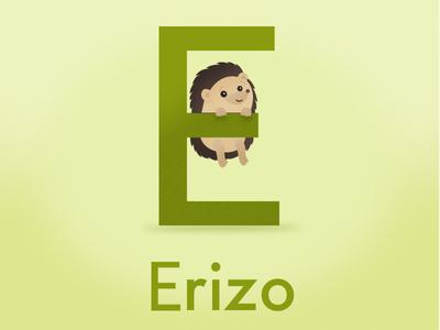 Erizo Vowel hedgehog childish vowels illustration