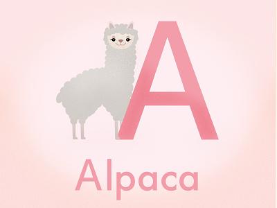 Alpaca Vowel alpaca childish vowels illustration