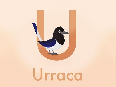 Urraca Vowel magpie childish vowels illustration