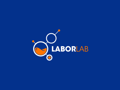 Labor Lab Logo training lessons professionals labor human resources orange blue online lab logo