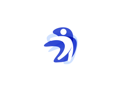Jump Logo community exercise hand icon illustration vector head fitness fitness app weight training trainers business branding person jumper blue design logo jump