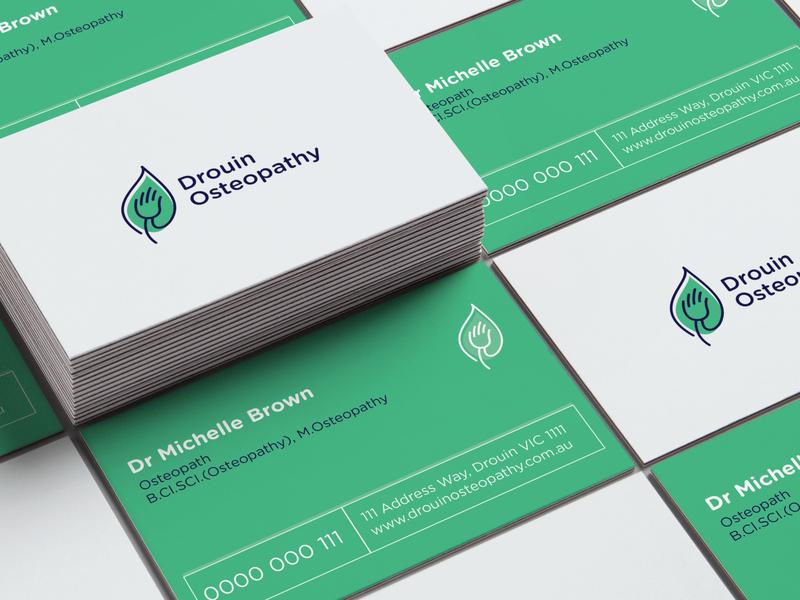 Business Cards leaf logo leaf green logo card business busines card hand drouin osteopathy design print