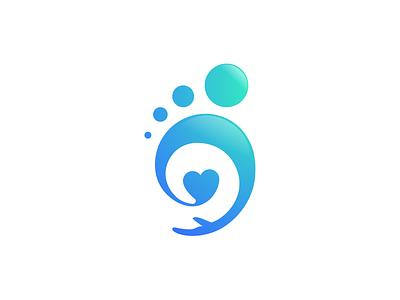 Baby Footprint branding vector head business blue community hand logo design