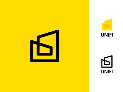 Unifi Real Estate Logo united inspiration branding design yellow logo mobile app start up startup business branding company u logo building house real estate logo design app icon vector design logo