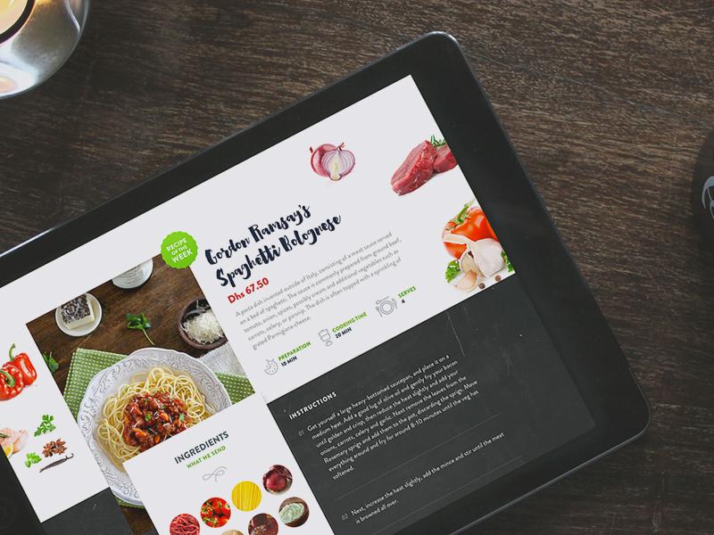 Cook A Box - Homepage food mockup revamp website ipad delivery ingredients homepage