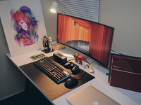 Workspace 2017 notes moleskine gaming poster macbook apple ikea desk design ultrawide rig workstation