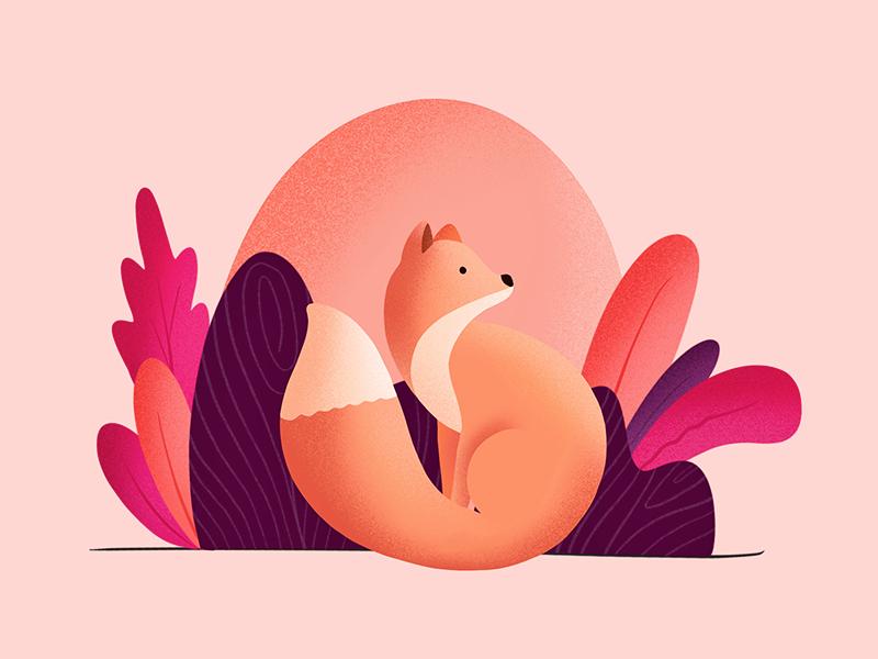 Foxy says Hi! fox procreate freestyle vibrant colors illustrator illustration drawing grains applepencil ipadpro ipad