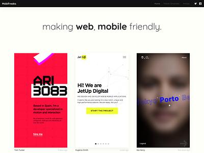 Mobifreaks Redesign dark header gallery template mobile website