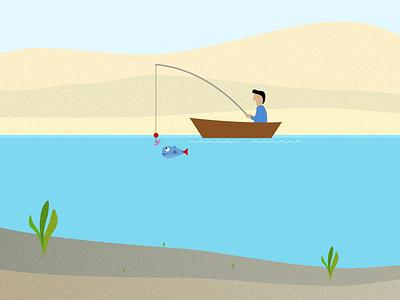 Fishing clouds sun waterfront desert boat fish fishing illustration