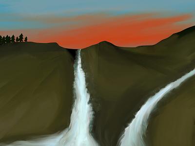 Final: Waterfalls post sunset procreate mountains sky waterfalls trees evening lovely illustration art
