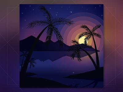 An Evening colorscape evening illustration