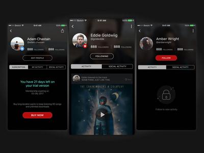 Profile Design Concept ios mobile app profile design user interface ui