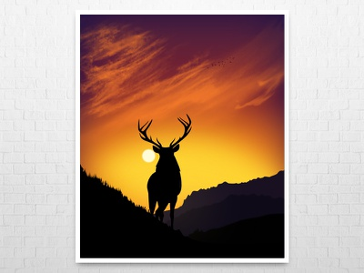 Stag.. graphic art stag colorscape evening illustration