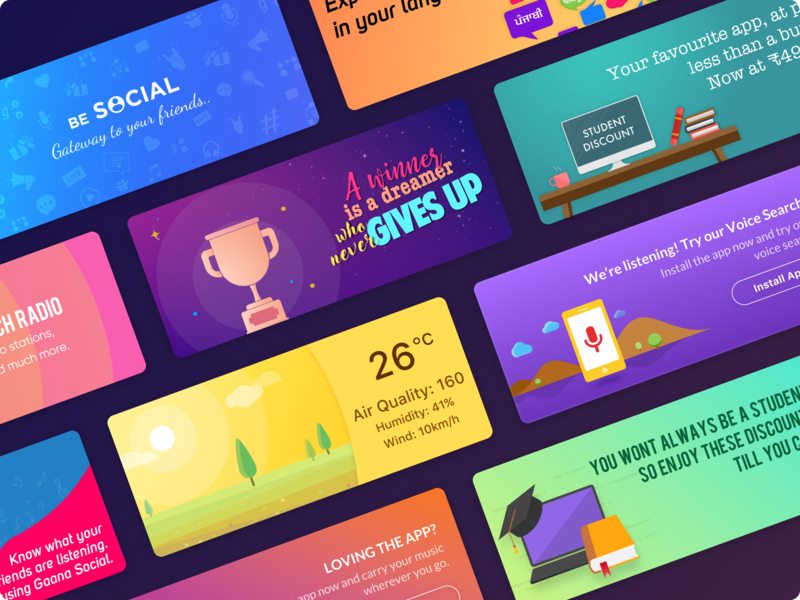 Banners Collection   Freebie colors colorscheme branding moods promotional sketch freebie free vector music colorscape typography illustration design banners