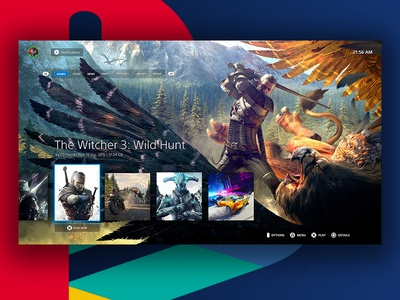 PlayStation 5 Dashboard UI game witcher psd ps5 tv interaction ui  ux dashboad playstation concept