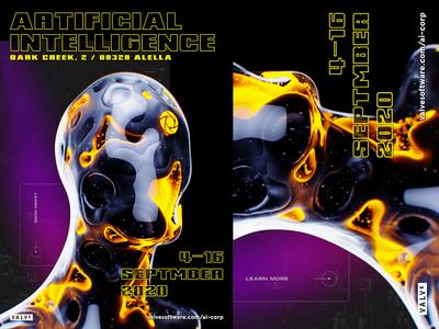 Valve AI Poster Concept steam event ai game design valve print composition poster minimal