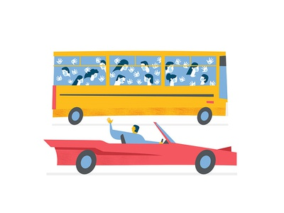 going to work editorial crowd hello car bus illustration