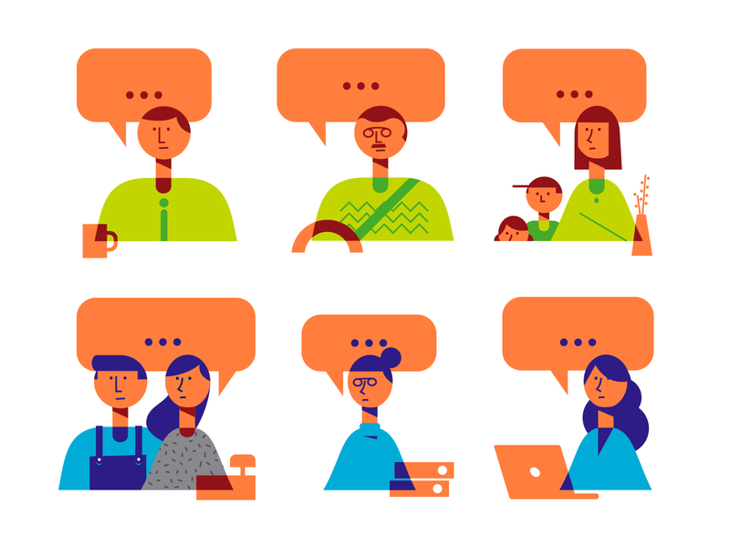 talking characters vector flat design flat simple minimal talking interview ilustration