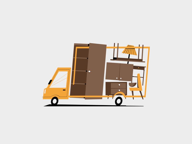 moving truck moving car minimal truck ilustration