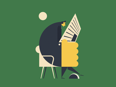 reading poster character vector book simple design minimal illustration