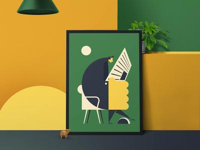 reading poster reading character geometry gift art poster vector simple minimal design illustration