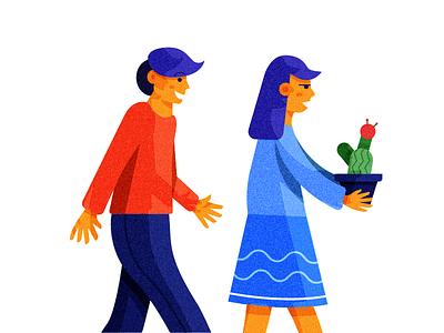 No Need to Explain relationship plant woman man cactus art character illustration