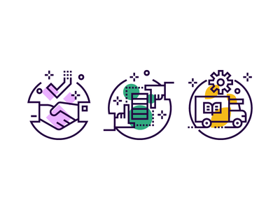 Onboarding Icon delivery handshake technology onboarding ux ui line iconography illustration icon