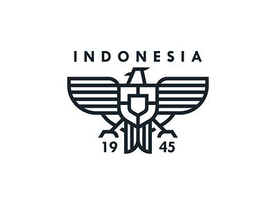 Indonesia icon team world cup indonesia shield badge bird eagle garuda line logo symbol