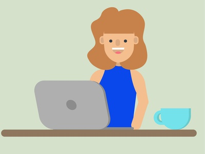 Flat Design Character Professional Women Laptop
