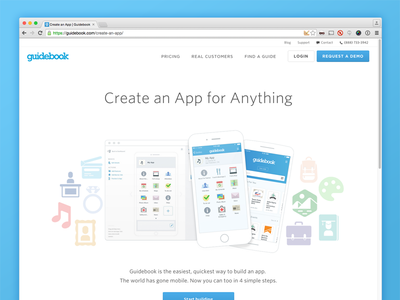Create an app for anything builder cms app guidebook landing page