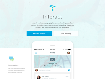 Interact / activity feed landing page for Guidebook guidebook discussions landing page chat home feed activity feed interact